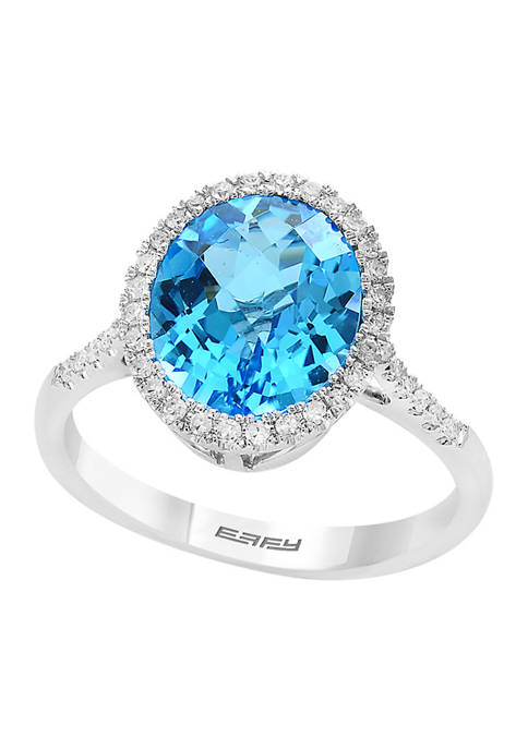 5/8 ct. t.w. Diamond and 4.4 ct. t.w. Blue Topaz Ring in 14K White Gold