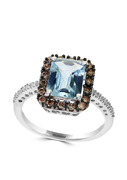 14K White Gold Diamond, Brown Diamond And Aquamarine Ring