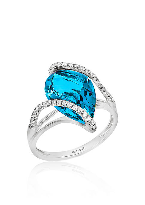 Effy® Blue Topaz and Diamond Ring in 14K