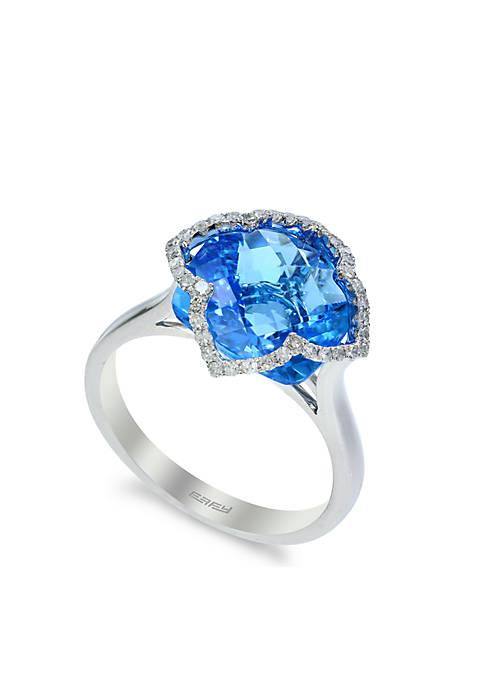 Effy® 14K White Gold Diamond And Blue Topaz