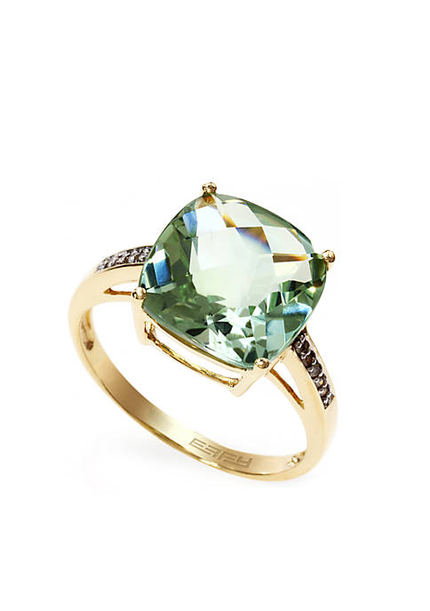 Effy 174 Green Amethyst Diamond Cocktail Ring In 14k Gold Belk