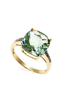 Green Amethyst Diamond Cocktail Ring in 14k Gold