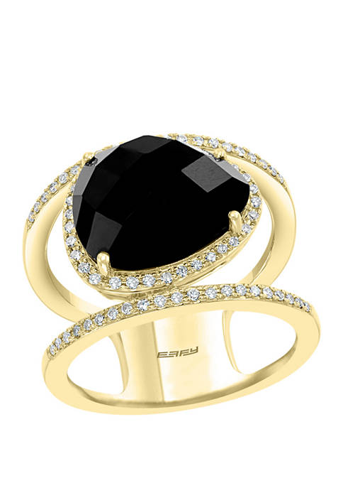 1/3 ct. t.w. Diamond and 5.1 ct. t.w. Onyx Ring in 14K Yellow Gold