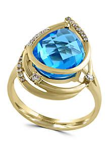 6.6 ct. t.w. Blue Topaz and 1/8 ct. t.w. Diamond Ring in 14k Yellow Gold