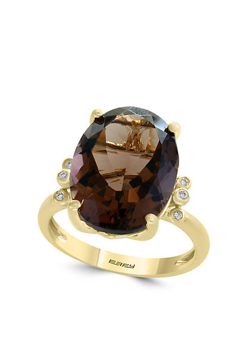 .03 ct. t.w. Diamond and Smoky Quartz Ring in 14k Yellow Gold