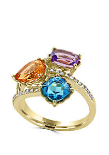 Effy® 1/8 ct. t.w. Diamond, Amethyst, Blue Topaz, and Citrine Ring in 14k Yellow Gold