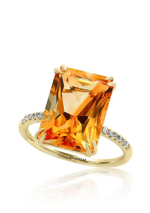Citirne and Diamond Ring in 14K Yellow Gold