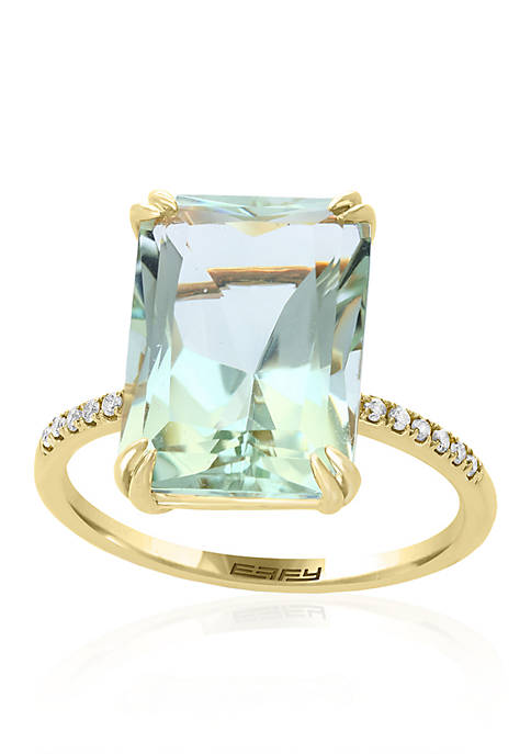Green Amethyst with Diamond Shank Ring in 14k Yellow Gold