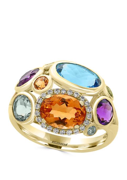 1/10 ct. t.w. Diamond and 5.3 ct. t.w. Semi Precious Stone Ring in 14K Yellow Gold