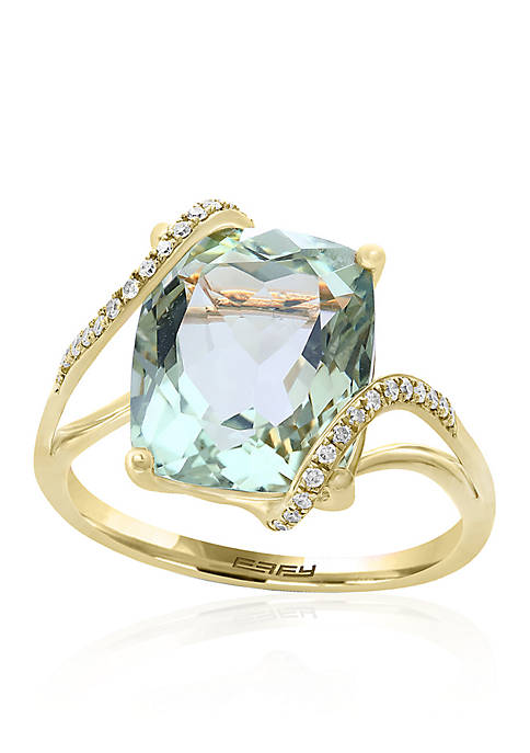 Green Amethyst Ring with 1/10 ct. t.w. Diamond Overlay Ring in 14k Yellow Gold