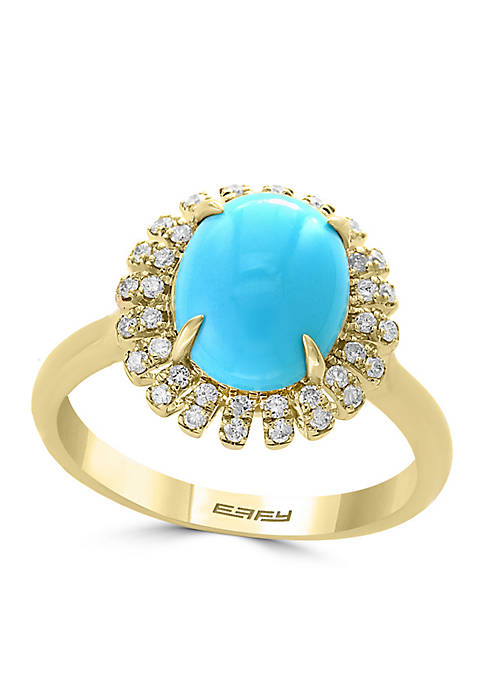 Effy® 14k Yellow Gold Diamond Turquoise Ring