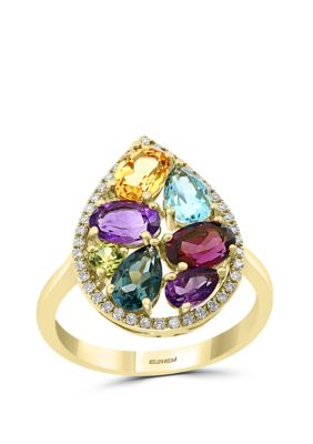 Effy Women 1 6 Ct. T.W. Diamond, Amethyst, Blue Topaz, London Blue Topaz, Citrine, Rhodolite, Peridot Ring In 14K Yellow Gold