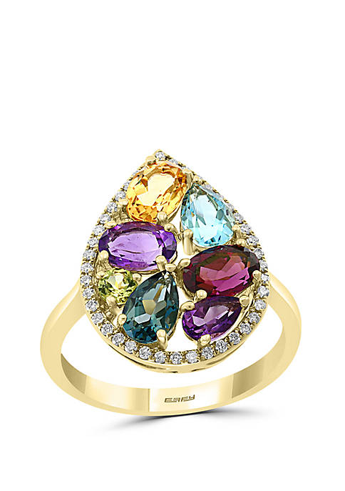 1/6 ct. t.w. Diamond, Amethyst, Blue Topaz, London Blue Topaz, Citrine, Rhodolite, Peridot Ring in 14k Yellow Gold