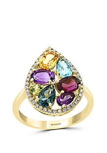 Effy® 1/6 ct. t.w. Diamond, Amethyst, Blue Topaz, London Blue Topaz, Citrine, Rhodolite, Peridot Ring in 14k Yellow Gold