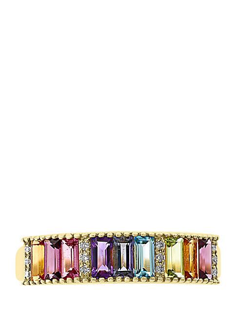 0.05 ct. t.w. Diamond, Iolite, Amethyst, Blue Topaz, Citrine, Rhodolite, Peridot, Tourmaline Ring in 14k Yellow Gold