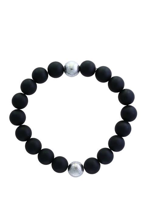 Mens 84.6 ct. t.w. Onyx and Meteorite Bead Bracelet