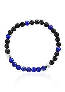 Meteorite, Blue Tiger Eye, and Lapis Beaded Stretch Bracelet