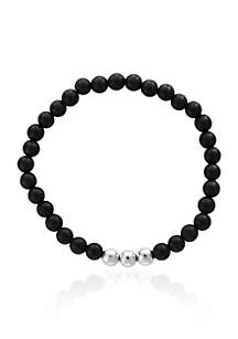 Onyx and Meteorite Matte Bead Stretch Bracelet
