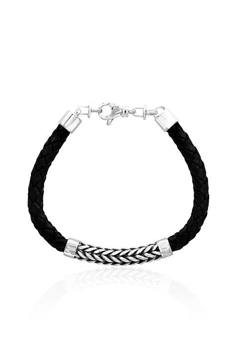 Leather Woven Bracelet in Sterling Silver