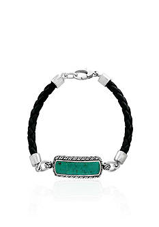 Effy® Turquoise Leather Bracelet in Sterling Silver