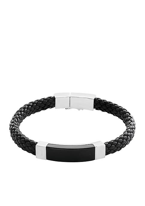 Mens Onyx Bracelet in Sterling Silver and Leather