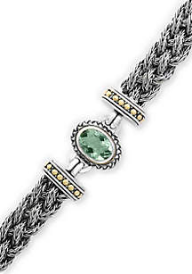 Effy® Sterling Braided Silver and 18K Yellow Gold Green Amethyst Bracelet