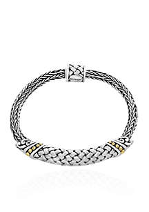 Sterling Silver with 18k Yellow Gold Mesh Bracelet