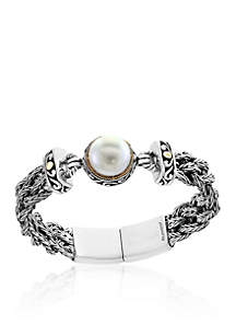 Freshwater Pearl Braided Bracelet in 18k Yellow Gold and Sterling Silver