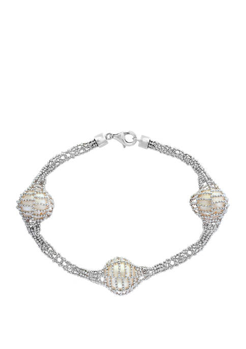 12 Millimeter Freshwater Pearl Bracelet in Sterling Silver