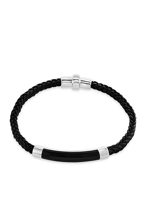 Effy® Mens Sterling Silver Agate Leather Bracelet