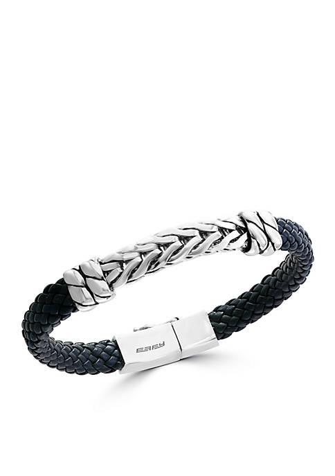 Mens Sterling Silver and Leather Bangle Bracelet