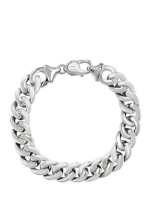 Mens Sterling Silver 8.5 Inch Bracelet With Ruthenium Finish
