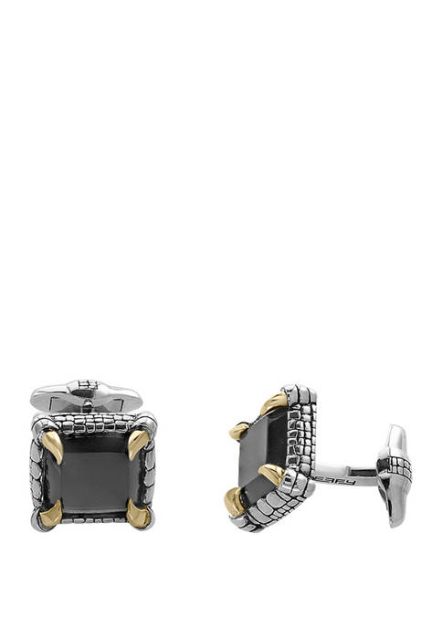 Mens 11.9 ct. t.w. Onyx Sterling Silver over 18k Yellow Gold Cuff Links