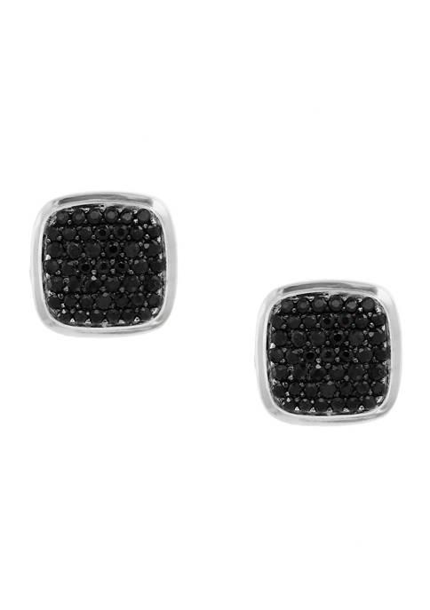 1.35 ct. t.w. Black Sapphire Cuff Links in Sterling Silver