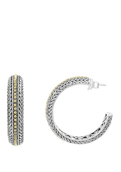 Hoop Earrings in Sterling Silver and 18K Yellow Gold