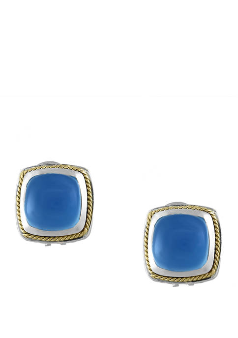 6.3 ct. t.w. Chalcedony Earrings in 18K Yellow Gold and Sterling Silver