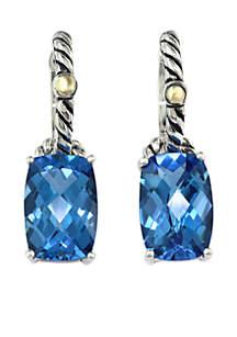Sterling Silver 18K Yellow Gold Blue Topaz Earrings