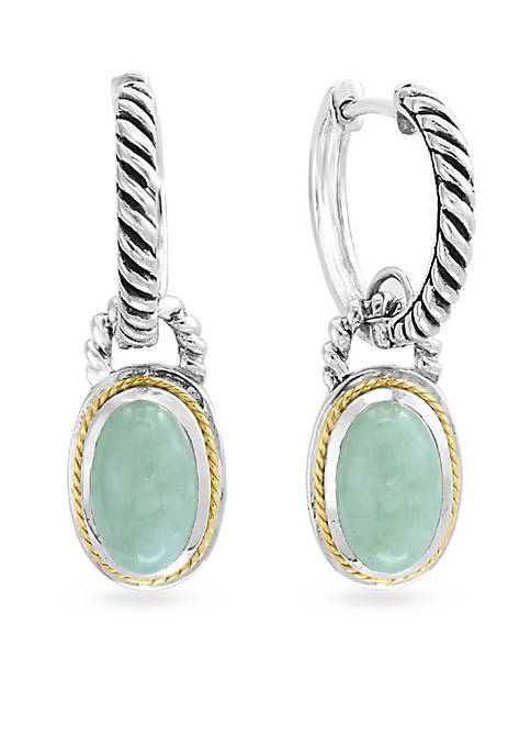 Sterling Silver 18K Yellow Gold Jade Earrings