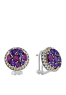 Sterling Silver 18K Yellow Gold Amethyst And Rhodolite Earrings