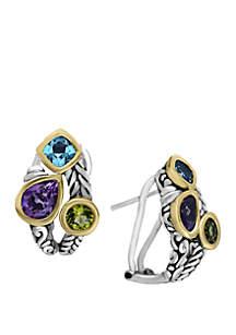 Effy® Amethyst, Blue Topaz, Peridot Earrings in Sterling Silver/ 18k Yellow Gold
