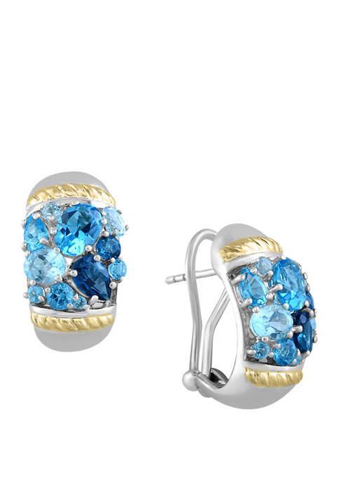 5.5 ct. t.w. Blue Topaz Earrings in 18K Yellow Gold and Sterling Silver