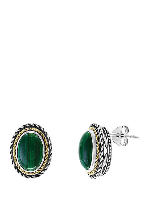 Malachite Earrings in Sterling Silver and 18k Yellow Gold