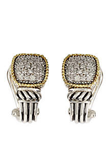 3/4 ct. t.w. Diamond Earrings in Sterling Silver and 18k Yellow Gold