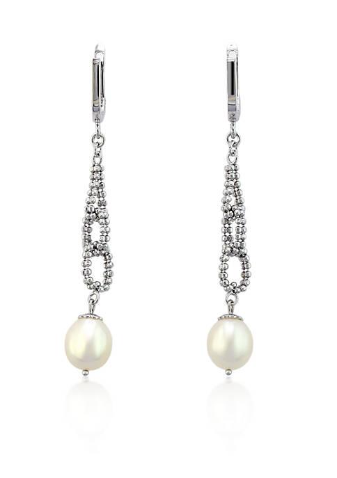 Effy® Oval Freshwater Pearl Drop Earrings in Sterling