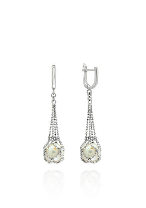 Round Freshwater Pearl Earrings in Sterling Silver