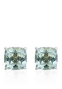 Effy Green Amethyst Stud Earrings In Sterling Silver