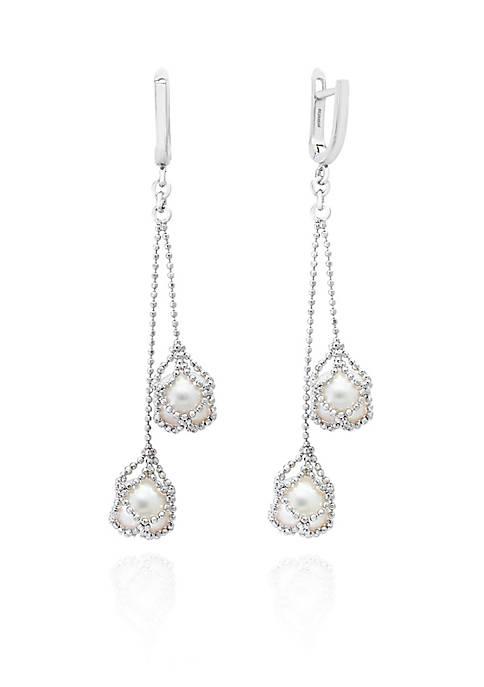 Freshwater Pearl Dangle Earrings in Sterling Silver
