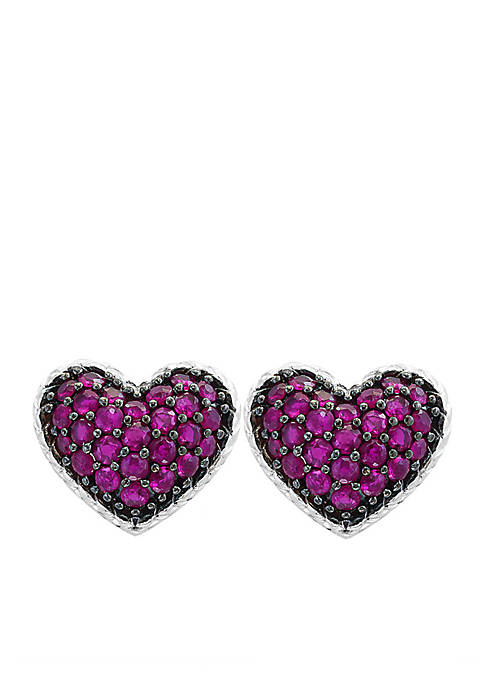 Sterling Silver Ruby Heart With Black Rhodium Earrings