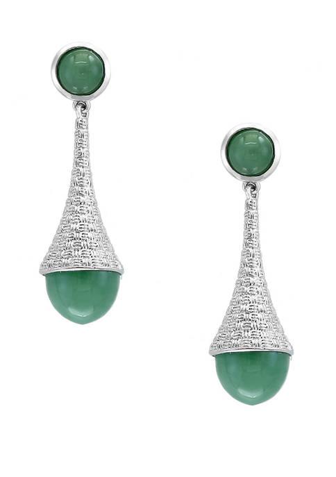 13 ct. t.w. Green Jade Earrings in Sterling Silver