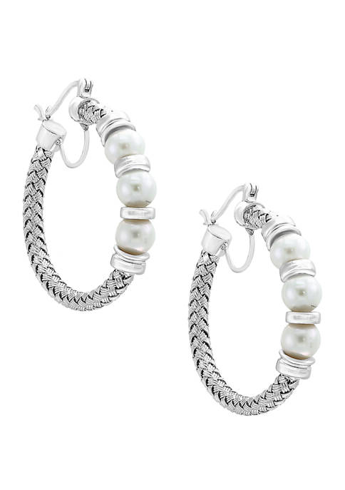 Freshwater Pearl Hoop Earrings in Sterling Silver